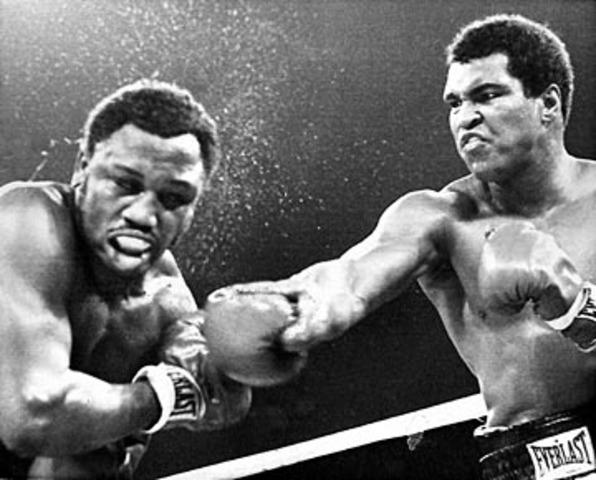 Epic Championship boxing match between Muhammad Ali and Joe Frazier.