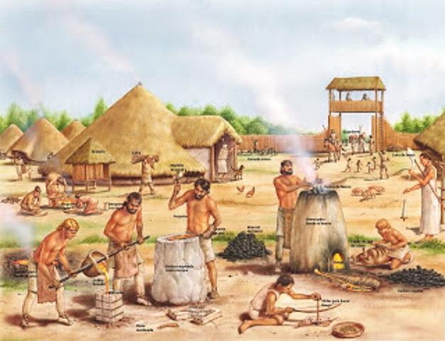 Comercio primitivo. Intercambio local e internacional de bienes como el trabajo en hierro o bronce