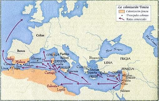 Fenicia (s. IX). Se abre vía marítima. Desarrollo exportaciones e importaciones con Egipto y Babilonia.
