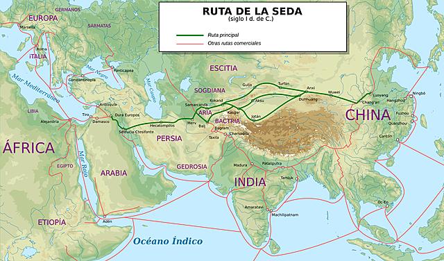 Ruta de la Seda. Se extendía por continente asiático, Europa y África.