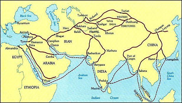 Ruta de la Seda. Comerciantes chinos transportaban sedas, pieles, té y especias a cambio de oro y plata.