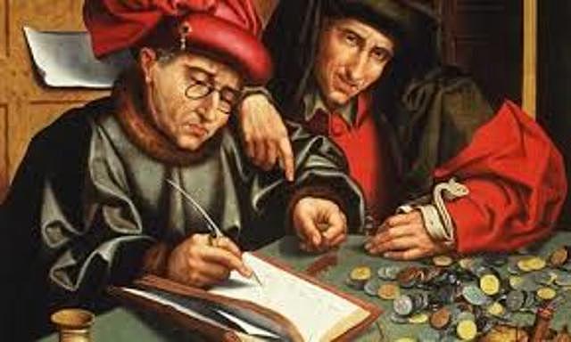 Banca. Surge la banca como establecimiento monetario y el uso del dinero en transacciones comerciales.