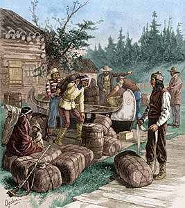 French found Quebec on the St. Lawrence River and Engage in the Fur Trade