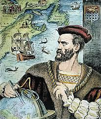 Jacques Cartier, sailing for France, explores the St. Lawrence River.