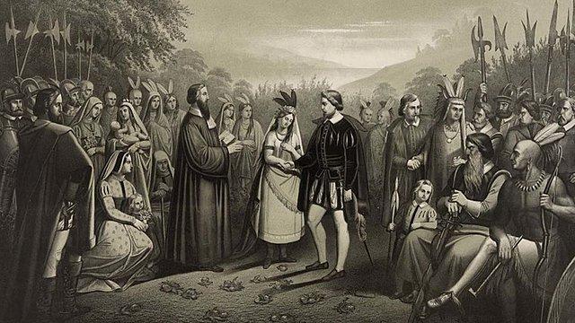 Pocahontas marries John Rolfe.
