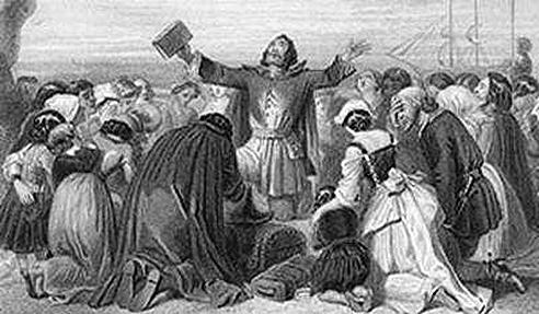 "Puritans initiate the ""Half-Way Covenant."""