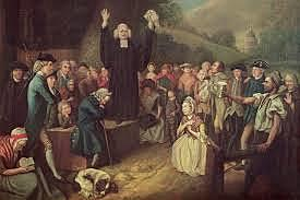 George Whitefield preaches his first sermon in America, in Philadelphia.