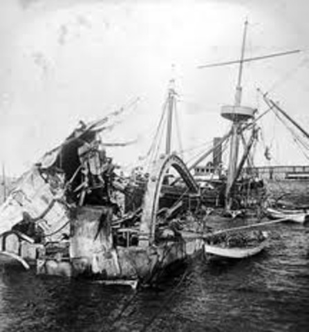 u.s.s. maine explodes and sinks. the spanish american war begins