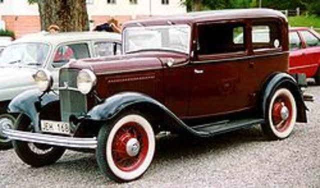 Ford introduces the Model B, the first low-priced car to have a V-8 engine
