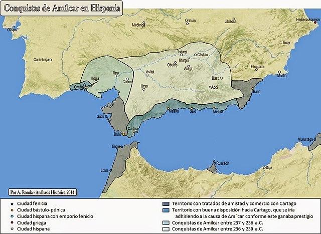 Amílcar Barca desembarca en Gadir