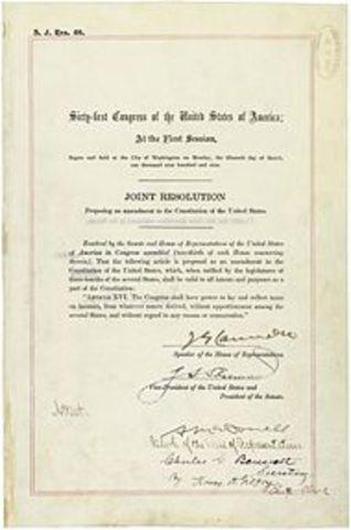 16th Amendment, establishing an income tax