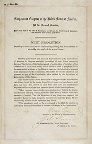 17th Amendment, establishing direct election of U.S. Senators.