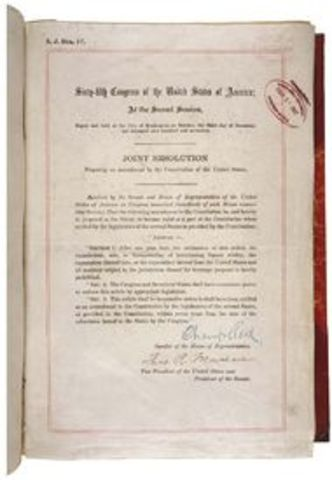 - 18th Amendment, establishing Prohibition
