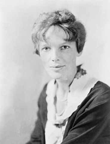 Amelia Earhart becomes the first woman to fly solo across the Atlantic Ocean