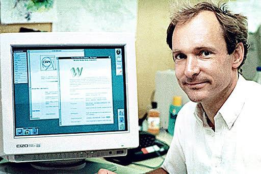"""Tim Berners-Lee, investigador del CERN (Organización Europea para la Investigación Nuclear) propuso un nuevo sistema de """"hipertexto"""" para compartir documentos."""