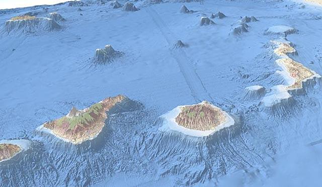 Gentil suposa que Canàries és una prolongació de l'Atles que penetra i sobresurt de l'oceà