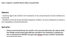 CIÈNCIA, personatges Científics (Marc Vizcaino Niño i Jordi Mir March) timeline