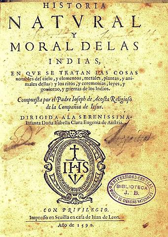 """Publicación de la """"Historia Natural y Moral de las Indias"""""""