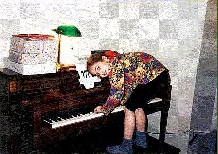 Gaga playing the piano