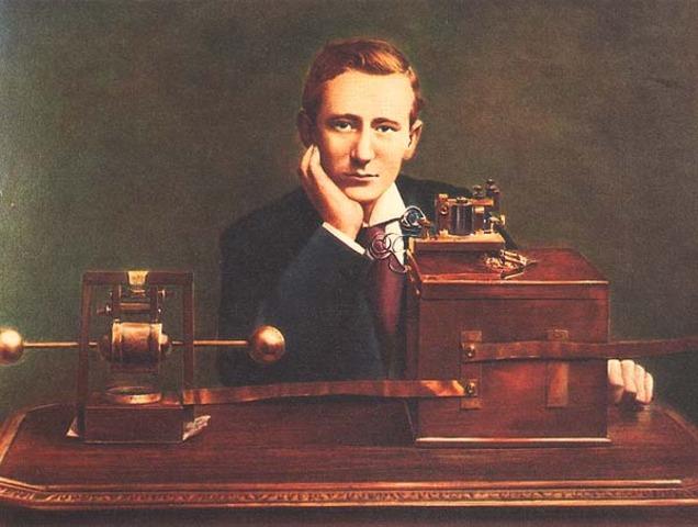 Transmissão de rádio por ondas eletromagnéticas do Transmissor de Marconi
