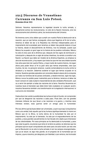 Discurso de Carranza en San Luis Potosí.