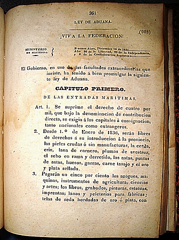 Segundo Gobierno de Rosas / Ley de Aduanas