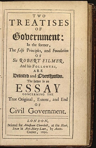 John Locke's Two Treatises of Government Published