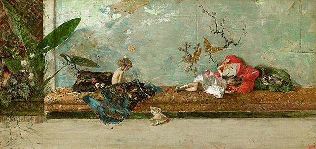 Los hijos del pintor en el salón japonés