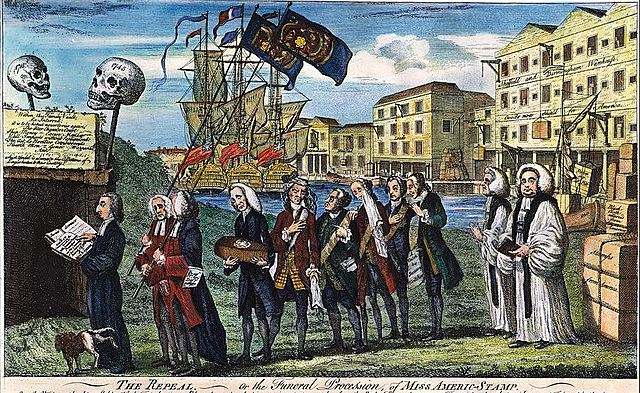 Parliament repeals the Stamp Act and passes the Declaratory Act.