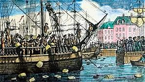 Colonists stage the Boston Tea Party.