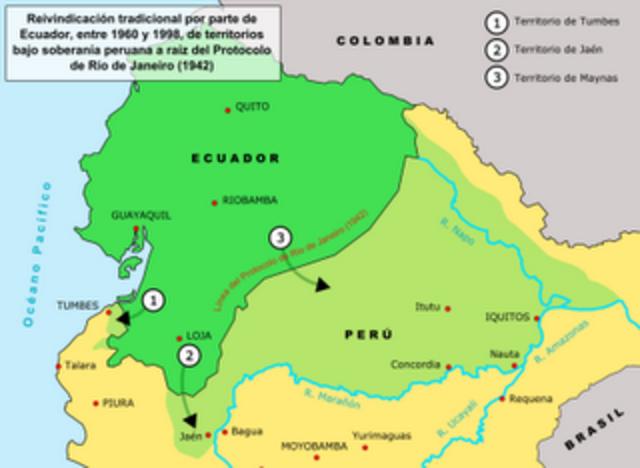 Firma del Tratado de Mapasingue entre Perú y  Ecuador.