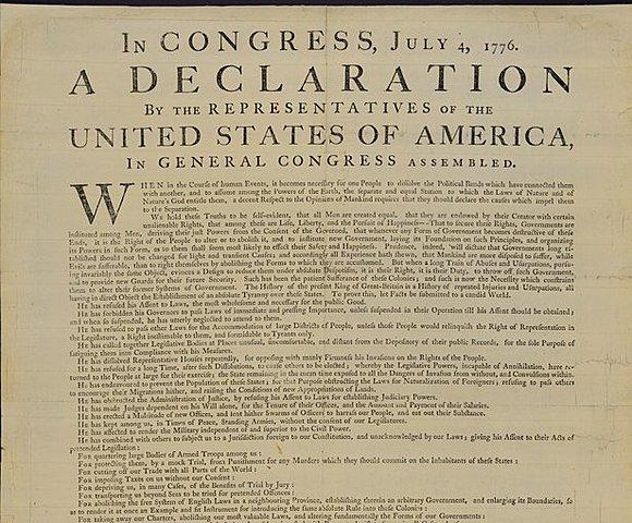Declaración de independencia en EEUU