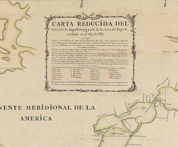 Карта Магелланова пролива и части Огненной Земли, составленная в 1786 г.