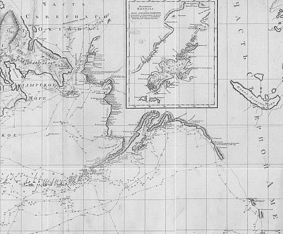 Карта географических открытий русских мореплавателей, исследователей Тихого океана, и открытий капитана Кука