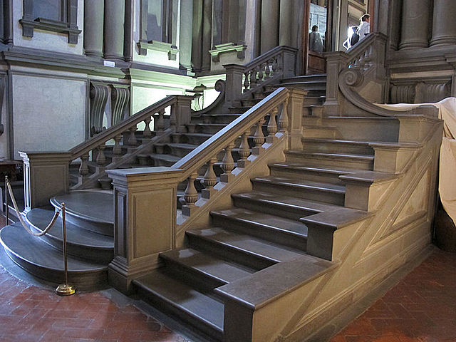 La Biblioteca Laurenciana (con la triple escalinata de Miguel Ángel - 1524)