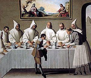 San Hugo en el refectorio de los Cartujos (Zurbarán - 1630)