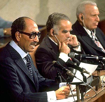 Anwar el Sadat vor Israels Parlament