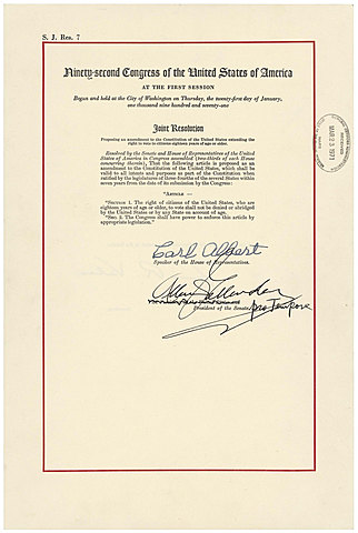The 26th Amendment being Ratified