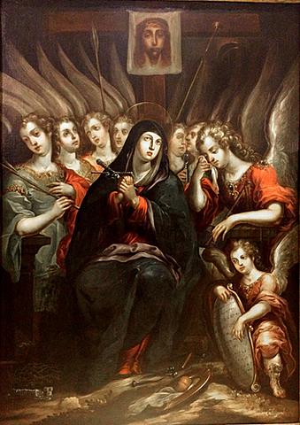 Barroco Novohispano (Nueva España) - La Dolorosa con los siete Arcángeles - Cristóbal de Villalpando