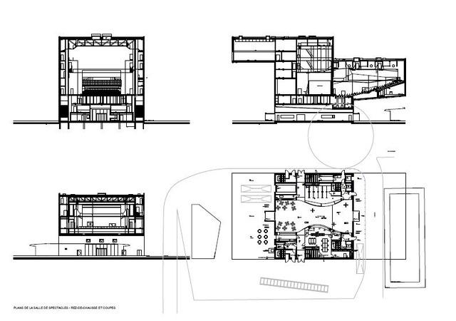 Plans de la Salle de Spectacle Equilibre. Rez-de-chaussée et coupes