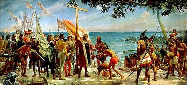 Llegada de Colón por América