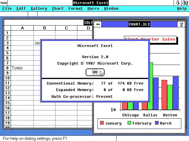 Microsoft excel 2.0