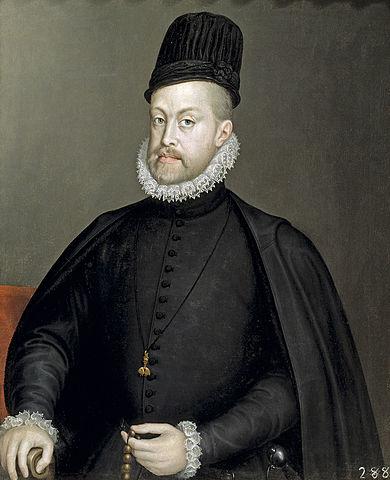 Felipe II coronado rey de España y sus posesiones Europeas y de Ultramar.