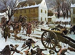 General Washington's troops cross the Delaware River; Battle of Trenton.