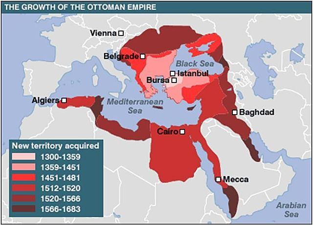 The Ottoman Empire spread to Africa, the Middle East and Southern Europe