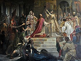 Charlemagne crowned emperor in Rome