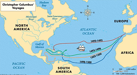 Christopher Columbus sets sail for India