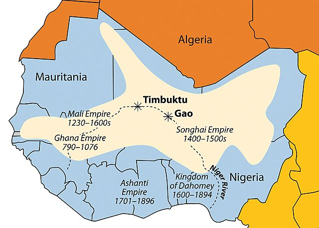 The Songhai Empire was established in Africa.