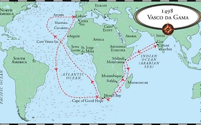 Vaso da Gama sailed around the southern tip of Africa route to India
