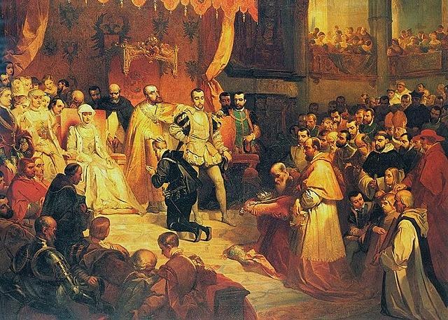 Carlos I abdica en su hijo Felipe y en su hermano Fernando .